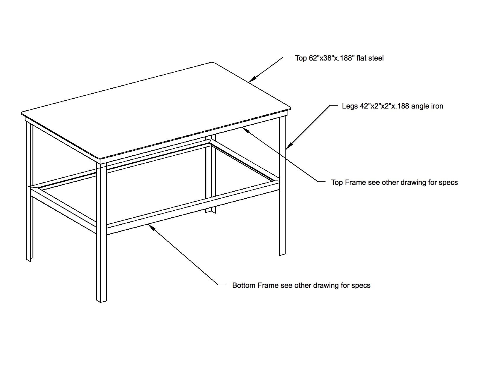 Welding table plans 3x5 standard red wing steel works for Plan fabrication table
